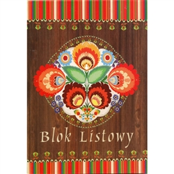 "48 sheet color note pad decorated in different Polish paper cut designs (wycinanki) from the Lowicz region of Poland. Size 16.5 x 23.5cm - 6.5"" x 9.25"". These make great gifts for crafters, paper cut enthusiasts, artists and anyone Polish."