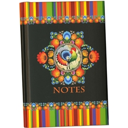 144 cream colored lined pages with a sturdy sewn and glued binding.  The colorful hardcover front and back is soft to the touch and water resistant. Includes an attached red ribbon place saver.