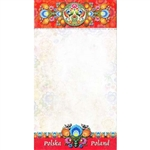 "Perfect to hang on a refrigerator or lay on a desk. 72 sheet color note pad decorated in a Polish paper cut design (wycinanka) from the Lowicz region of Poland. Size 4.25"" x 7.5"". Large magnet on the back. These make great gifts for crafters, paper cut"