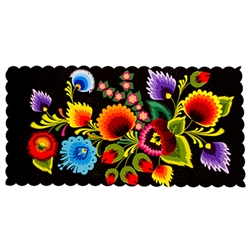 Die cut with scalloped edging and plasticized on top this gorgeous cloth table-runner features a beautiful example of a Polish paper cut (wycinanka). Black background.