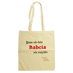 Tote bag in 100% light weight cotton which features a clever truism: