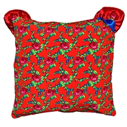 Beautiful stuffed folk design pillow. 100% polyester and made in Poland. Back side of the pillow is red satin and has an