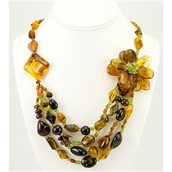 Bozena Przytocka is a designer of artistic amber jewelry based in Gdansk, Poland.   Here is a beautiful example of her ability to blend multiple shades of amber, and peridot to create a stunning necklace.