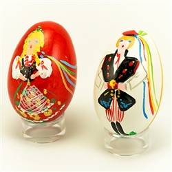 Deluxe wooden Easter eggs from Poland.  Hand painted set featuring Krakow boy and girl in their colorful traditional costumes.