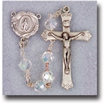 "21"" Premium Hand Crafted 7mm Crystal Aurora Borealis Faceted Glass Bead Rosary with a deluxe Crucifix and Center
