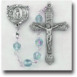 "20"" Premium Hand Crafted 6mm Tin Cut Crystal Bead Rosary with a deluxe Crucifix and Center
