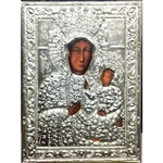 "Made in Poland this icon is a print and covered with a beautiful cover of zinc plated copper featuring fine bas-relief. Size 4.75"" x 6.25"" - 12cm x 16cm"