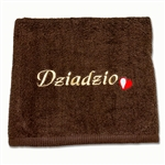 "This beautiful 100% soft cotton towel makes a perfect gift for your Polish Dziadzio (Grandpa). Features the Polish red and white colors in a little embroidered heart next to the embroidered Babcia! Size 70 x 140cm - 27"" X 55""."