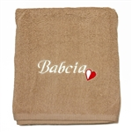 "This beautiful 100% soft cotton towel makes a perfect gift for your Polish Babcia (grandma).  Features the Polish red and white colors in a little embroidered heart next to the embroidered Babcia!  Size 70 x 140cm - 27"" X 55""."
