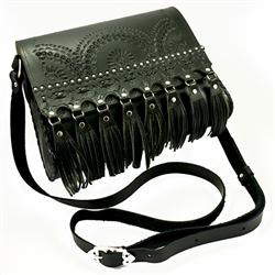"Hand made natural leather purse with shoulder strap hand made in Poland. Fine natural leather dyed black and high quality Polish craftsmanship. Decorated with the traditional Goral pattern. Magnetic clasps and adjustable strap (24"" - 32"")."