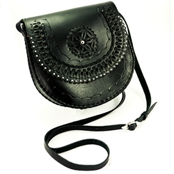 "Hand made natural leather purse with shoulder strap hand made in Poland. Fine natural leather dyed black and high quality Polish craftsmanship. Decorated with the traditional mountain flower. Magnetic clasp and adjustable strap (22"" - 29"")."