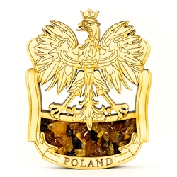 Hand made of wood and filled with genuine amber this very attractive magnet features the Polish Eagle. the national emblem of Poland.