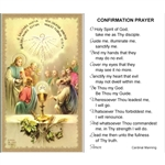 Confirmation Prayer - Holy Card.  Plastic Coated. Picture is on the front, text is on the back of the card.