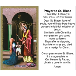 St. Blase - Holy Card.  Plastic Coated. Picture is on the front, text is on the back of the card.