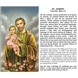 St. Joseph - Holy Card.  Plastic Coated. Picture is on the front, text is on the back of the card.
