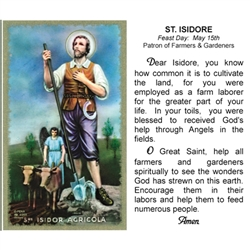 St. Isidore - Holy Card.  Plastic Coated. Picture is on the front, text is on the back of the card.