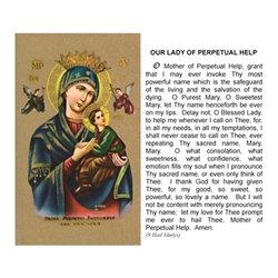Our Lady of Perpetual Help - Holy Card.  Plastic Coated. Picture is on the front, text is on the back of the card.