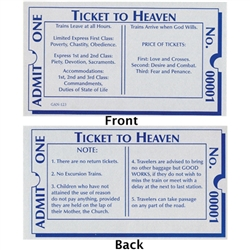 Ticket to Heaven - Prayer / Holy Card.  Plastic Coated. Picture is on the front, text is on the back of the card.