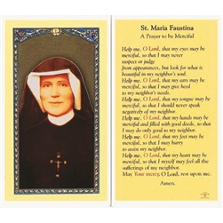 ST. Faustina- Holy Card.  Plastic Coated. Picture is on the front, text is on the back of the card.