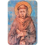 Two pictures appear when the card is moved. The first side has Saint Francis and the second side is the Cross.