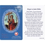 Healing St Helen Holy Card. This unique prayer card contains a third class relics on the front with the prayer on the back. Please note that these are third class relics and are not first or second class with a piece of cloth touched to the shrine.