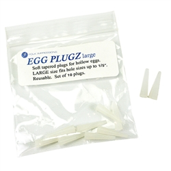 Hollow Egg Plugs Large includes a set of 10 soft egg plugs ideal for use with blown out eggs. Made of a soft and pliable material. Reusable.