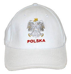 Stylish baseball cap displaying the Polish colors of red and white with detailed embroidery work. The front of the cap has an embroidered Polska under the Polish Eagle.. Adjustable Velcro tab. Designed to fit most people.
