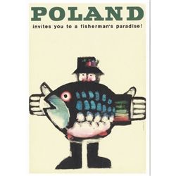 "Very clever Polish poster originally designed in 1967 by artist Wiktor Gorka to promote tourism to Poland. It has now been turned into a post card size 4.75"" x 6.75"" - 12cm x 17cm."