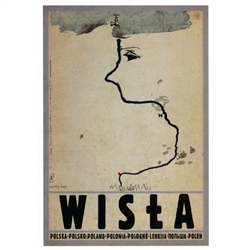 "Wisla, Polish Promotion Poster designed by artist Ryszard Kaja. It has now been turned into a post card size 4.75"" x 6.75"" - 12cm x 17cm."
