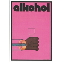 "Alkohol, Anti-alcohol social campaign Poster  designed by artist Andrzej Krajewski.  It has now been turned into a post card size 4.75"" x 6.75"" - 12cm x 17cm."