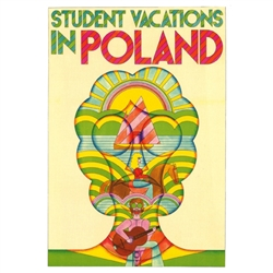 "Student Vacations in Poland Poster  designed by artist Andrzej Krajewski.  It has now been turned into a post card size 4.75"" x 6.75"" - 12cm x 17cm."