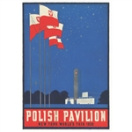 "Polish Pavilion at NY 1939 World's Fair, Polish Promotional Poster.  It has now been turned into a post card size 4.75"" x 6.75"" - 12cm x 17cm."