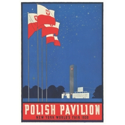 "Polish Pavilion at NY 1939 World's Fair, Polish Promotion Poster.  It has now been turned into a post card size 4.75"" x 6.75"" - 12cm x 17cm."
