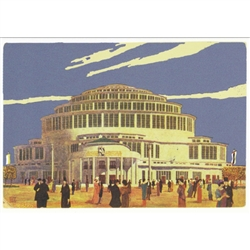 "Wroclaw, Centennial Hall, Polish Art Poster.  It has now been turned into a post card size 4.75"" x 6.75"" - 12cm x 17cm."