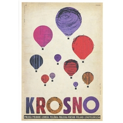 "Krosno, Balloons, Polish Promotion Poster designed by artist Ryszard Kaja. It has now been turned into a post card size 4.75"" x 6.75"" - 12cm x 17cm."
