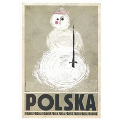 "Snowman, Polish Promotion Poster designed by artist Ryszard Kaja. It has now been turned into a post card size 4.75"" x 6.75"" - 12cm x 17cm."