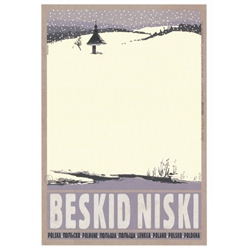 "Beskid Niski, Polish Promotion Poster designed by artist Ryszard Kaja. It has now been turned into a post card size 4.75"" x 6.75"" - 12cm x 17cm."