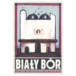 "Bialy Bor, Hommage a Nowosielski, Polish Poster designed by artist Ryszard Kaja. It has now been turned into a post card size 4.75"" x 6.75"" - 12cm x 17cm."