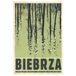 "Biebrza, Wildlife River, Polish Tourist Poster designed by artist Ryszard Kaja. It has now been turned into a post card size 4.75"" x 6.75"" - 12cm x 17cm."