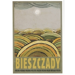 "Bieszczady Mountains, Polish Promotion Poster designed by artist Ryszard Kaja. It has now been turned into a post card size 4.75"" x 6.75"" - 12cm x 17cm."