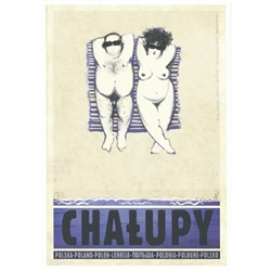 "Chalupy, Polish Tourist Poster designed by artist Ryszard Kaja. It has now been turned into a post card size 4.75"" x 6.75"" - 12cm x 17cm."