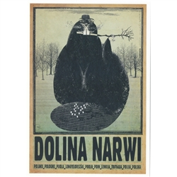 "Dolina Narwi, Polish Promotion Poster designed by artist Ryszard Kaja. It has now been turned into a post card size 4.75"" x 6.75"" - 12cm x 17cm."