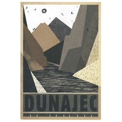 "Post Card: Dunajec, Polish Tourist Poster designed by artist Ryszard Kaja. It has now been turned into a post card size 4.75"" x 6.75"" - 12cm x 17cm."