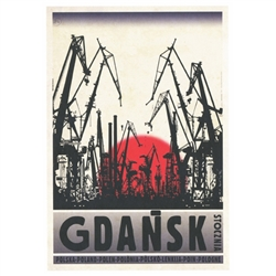 "Post Card: Gdansk - Shipyard, Polish Promotion Poster designed by artist Ryszard Kaja. It has now been turned into a post card size 4.75"" x 6.75"" - 12cm x 17cm."