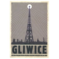 "Post Card: Gliwice Radio Tower, Polish Promotion Poster designed by artist Ryszard Kaja. It has now been turned into a post card size 4.75"" x 6.75"" - 12cm x 17cm."