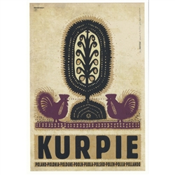 "Post Card: Kurpie, Polish Tourist Poster designed by artist Ryszard Kaja. It has now been turned into a post card size 4.75"" x 6.75"" - 12cm x 17cm."
