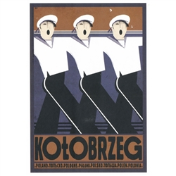"Post Card: Kolobrzeg, Polish Promotion Poster designed by artist Ryszard Kaja. It has now been turned into a post card size 4.75"" x 6.75"" - 12cm x 17cm."