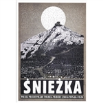 "Post Card: Śnieżka - Tourist Poster, Polish Poster designed by artist Ryszard Kaja. It has now been turned into a post card size 4.75"" x 6.75"" - 12cm x 17cm."