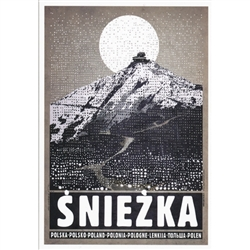 "Post Card: Sniezka, Polish Tourist Poster, Polish Poster designed by artist Ryszard Kaja. It has now been turned into a post card size 4.75"" x 6.75"" - 12cm x 17cm."