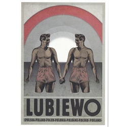 "Post Card: Lubiewo, Polish Poster designed by artist Ryszard Kaja. It has now been turned into a post card size 4.75"" x 6.75"" - 12cm x 17cm."